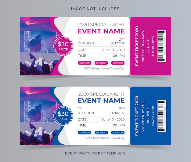 Modello di biglietto per la festa dell'evento