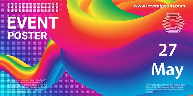 Locandina dell'evento. sfondo di festa. flusso del fluido. composizione futuristica. forme liquide. disegno astratto della copertina. illustrazione vettoriale.