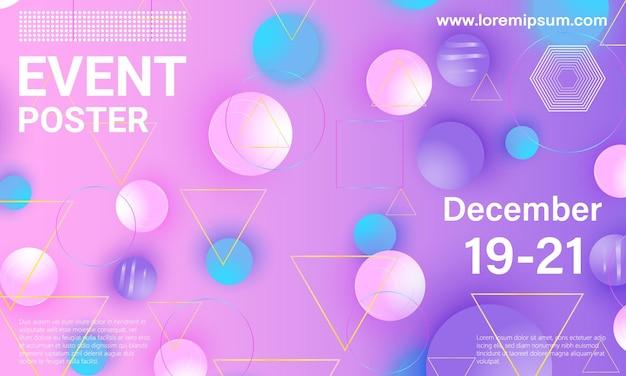 Locandina dell'evento. con elementi geometrici colorati.