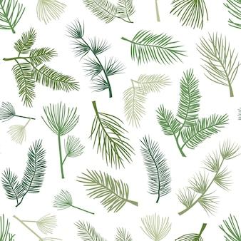 Fondo senza cuciture di piante e alberi sempreverdi con rami di pino e abete natale e capodanno