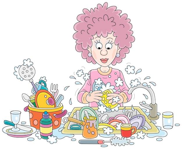 Compiti di tutti i giorni una giovane donna carina che lava i piatti