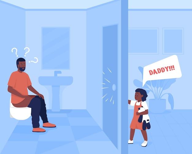 Illustrazione vettoriale di colore piatto per lo stress quotidiano dei genitori. padre in bagno mentre il bambino richiede attenzione. la bambina urla per il padre. personaggi dei cartoni animati 2d della famiglia con interni di casa sullo sfondo