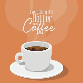 Tutto migliora con il design del caffè e della tazza del tema della colazione e delle bevande con caffeina.