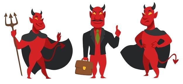 Uomo d'affari malvagio che indossa tuta e tiene in mano una valigetta, affronta il diavolo. personaggio astuto con espressione facciale arrabbiata. persona dall'inferno, angelo caduto con le corna e racconto. vettore in stile piatto