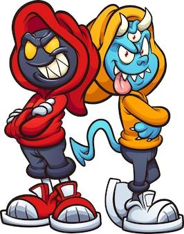 Personaggi dei cartoni animati malvagi che indossano felpe in piedi schiena contro schiena