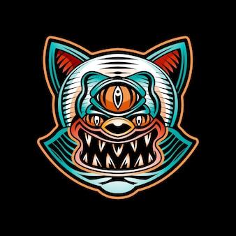 Modello di logo del tatuaggio del gatto malvagio isolato sul nero