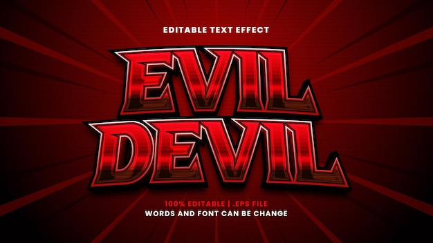 Effetto di testo modificabile diavolo malvagio in moderno stile 3d
