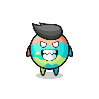 Espressione malvagia del simpatico personaggio mascotte delle bombe da bagno, design in stile carino per maglietta, adesivo, elemento logo