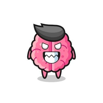 Espressione malvagia del simpatico personaggio mascotte del cervello, design in stile carino per maglietta, adesivo, elemento logo