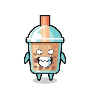 Espressione malvagia del simpatico personaggio mascotte del bubble tea, design in stile carino per t-shirt, adesivo, elemento logo