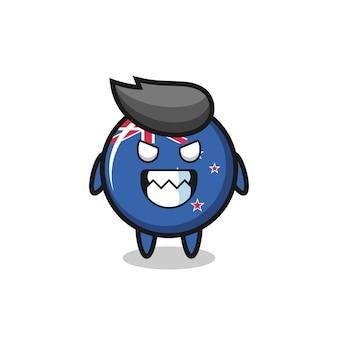 Espressione malvagia del simpatico personaggio mascotte del distintivo della bandiera della nuova zelanda, design in stile carino per t-shirt, adesivo, elemento logo
