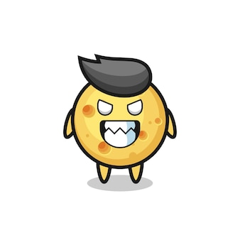 Espressione malvagia del simpatico personaggio mascotte del formaggio rotondo, design in stile carino per maglietta, adesivo, elemento logo