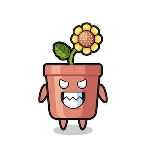 Espressione malvagia del simpatico personaggio mascotte del vaso di girasole, design in stile carino per maglietta, adesivo, elemento logo