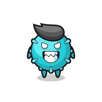 Espressione malvagia del simpatico personaggio mascotte del virus, design in stile carino per maglietta, adesivo, elemento logo