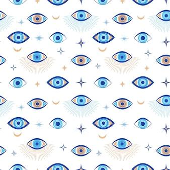 Modello senza cuciture del malocchio. talismano magico e simbolo occulto. terzo occhio greco etnico blu, bianco e dorato. carta da parati astratta di vettore piatto. illustrazione senza cuciture della carta da parati dell'amuleto dell'occhio di talismano