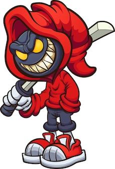 Personaggio malvagio con cappuccio che tiene una katana