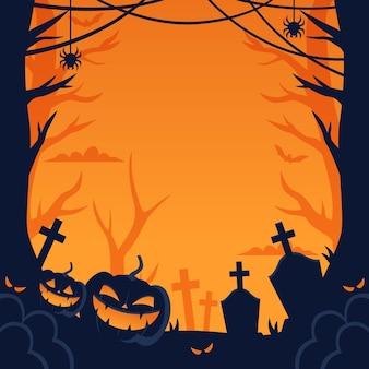 Cornice di halloween di zucche di smiley male