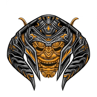 Guerriero diabolico golden mask vector