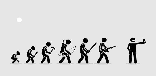 Evoluzione delle armi umane su una cronologia della storia. le armi si evolvono nel tempo. l'uomo moderno usa il telefono con fotocamera come arma preferita.