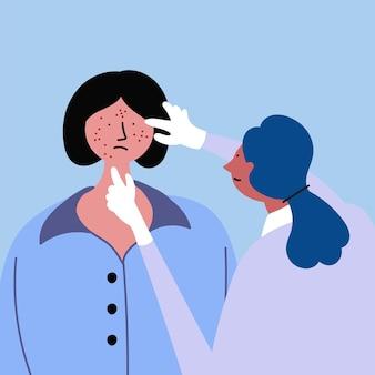 Esame medico ragazza con acne eczema psoriasi