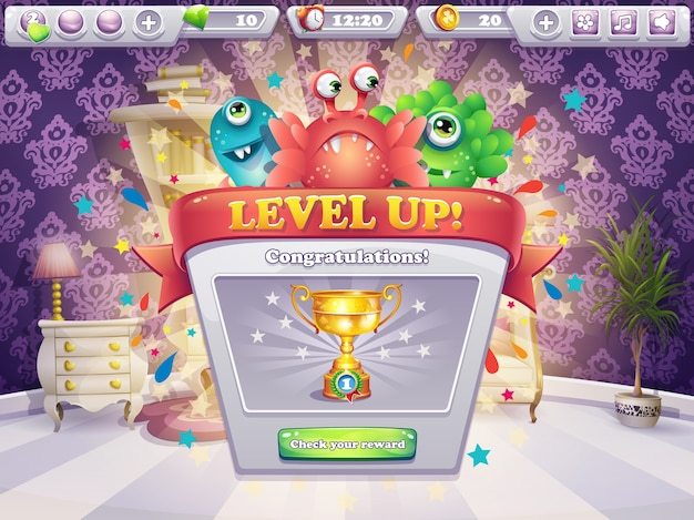 Esempio della finestra di gioco che riceve il premio per i giochi per computer monsters