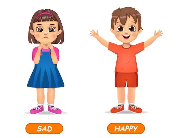 Esempio di aggettivi opposti parola per bambini. isolato su bianco