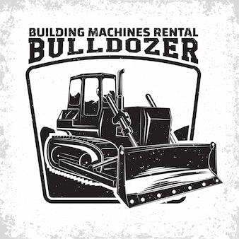 Emblema di progettazione di logo di lavoro di scavo dell'organizzazione di noleggio di bulldozer