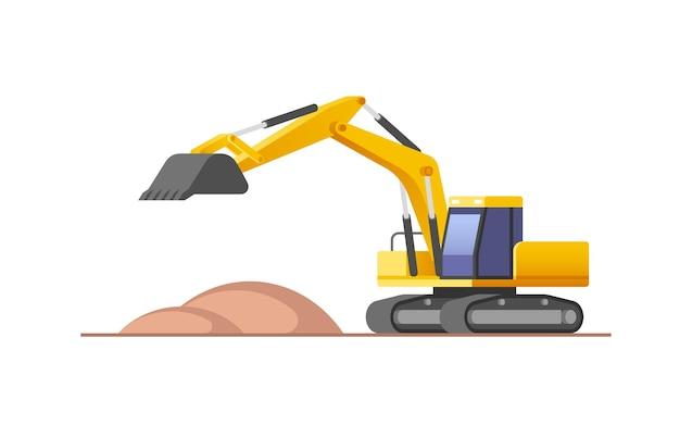 Escavatore in azione in cantiere. illustrazione.