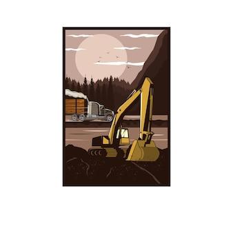 Escavatore e grosso camion