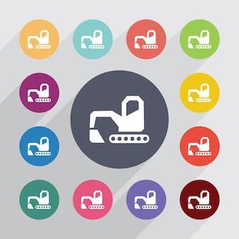 Cerchio dell'escavatore, set di icone piane. bottoni colorati rotondi. vettore