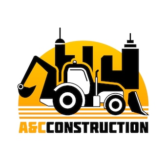 Modello di logo della società di costruzioni di escavatore