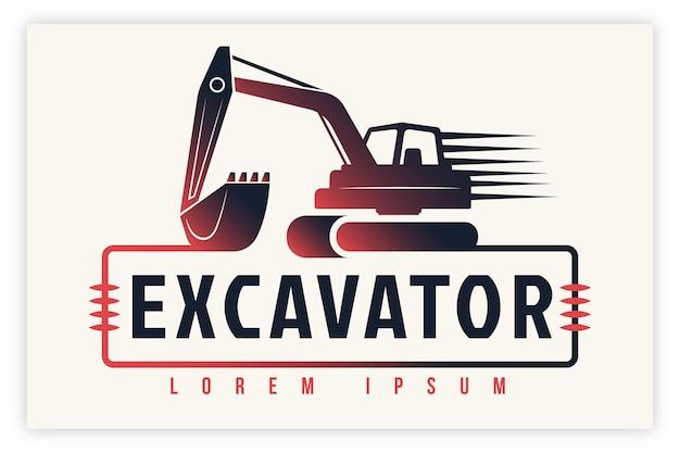 Concetto di logo di costruzione di escavatori