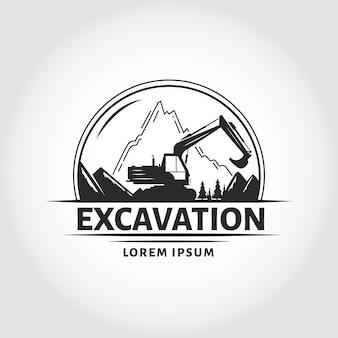 Modello di logo di escavatore e costruzione con la montagna