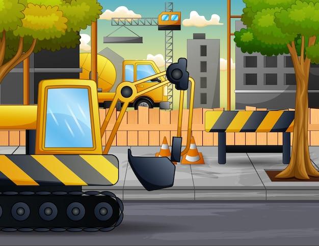 Un escavatore nell'illustrazione del cantiere