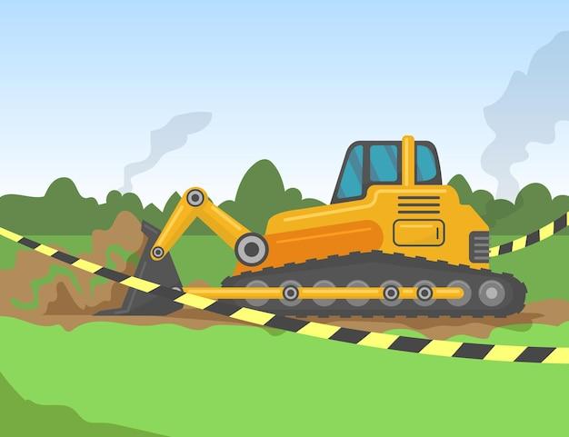 Escavatore che scava la terra per l'illustrazione delle fondamenta