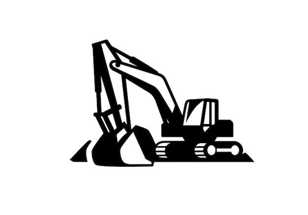 Icona di vettore del modello di logo dell'escavatore