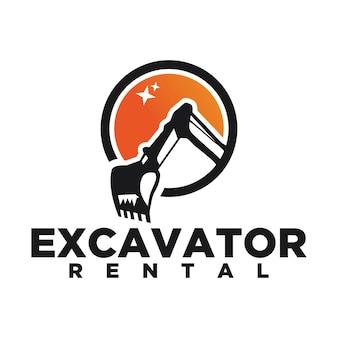 Modello di logo di vettore dell'escavatore. marchio dell'escavatore. escavatore isolato. digger, costruzione, retroescavatore, icona di affari di costruzione. elementi di design di attrezzature per l'edilizia.
