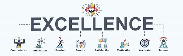 Icona di eccellenza banner web per il business