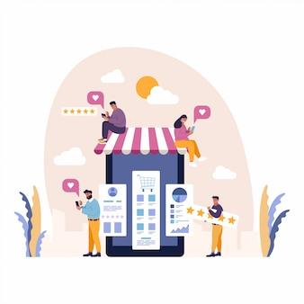 L'esperienza utente eccellente concetto di soddisfazione del cliente con le persone godono di shopping mobile e condividere recensioni a cinque stelle.