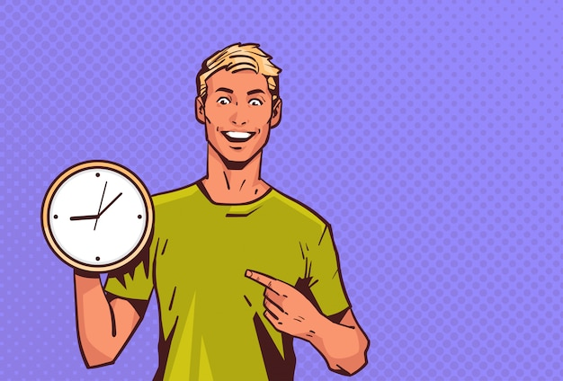 Uomo eccitato tenere punto orologio dito stile pop stile retrò maschio felice