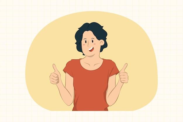 Giovane donna emozionante che mostra pollice in su