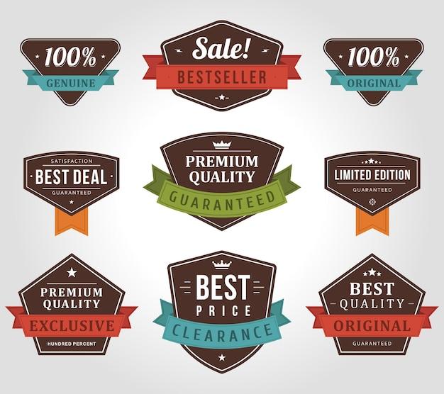 Etichette di prodotti esclusivi e originali.