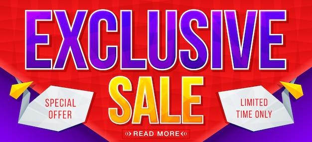 Banner di vendita esclusiva saldi e sconti