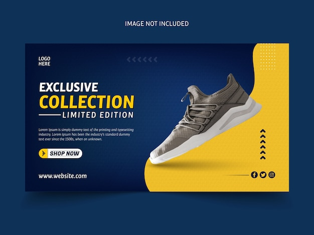 Modello di banner collezione esclusiva di scarpe