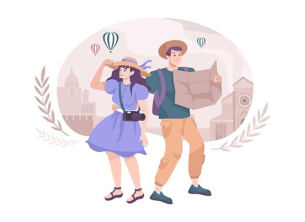 Composizione piana di escursione con due turisti della città che tengono mappa e macchina fotografica