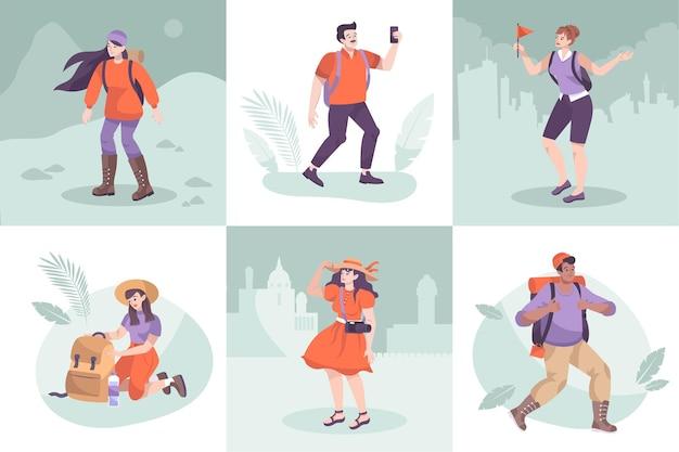 Set di escursione dell'illustrazione di caratteri turistici