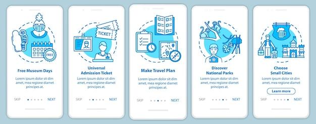 Schermata della pagina dell'app mobile di onboarding delle escursioni con i concetti. ingressi gratuiti. piccola città. istruzioni grafiche in cinque passaggi per il turismo economico. modello vettoriale dell'interfaccia utente con illustrazioni a colori rgb