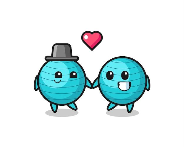 Coppia di personaggi dei cartoni animati con palla da ginnastica con gesto di innamoramento, design in stile carino per maglietta, adesivo, elemento logo
