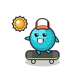 L'illustrazione del personaggio della palla da ginnastica cavalca uno skateboard, design in stile carino per maglietta, adesivo, elemento logo