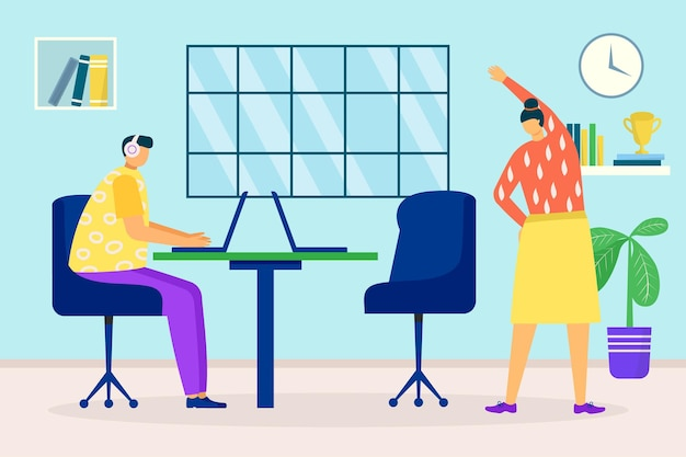 Esercizio in ufficio affari illustrazione vettoriale personaggio piatto persona ha una pausa durante il lavoro donna e...